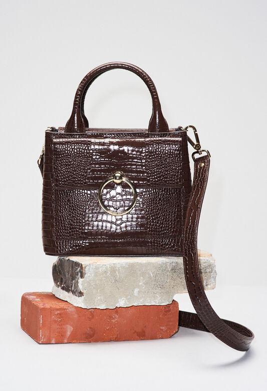 ANOUCKSMALLREPTILECROCOH19 : Bags & Leather Goods color BLACK
