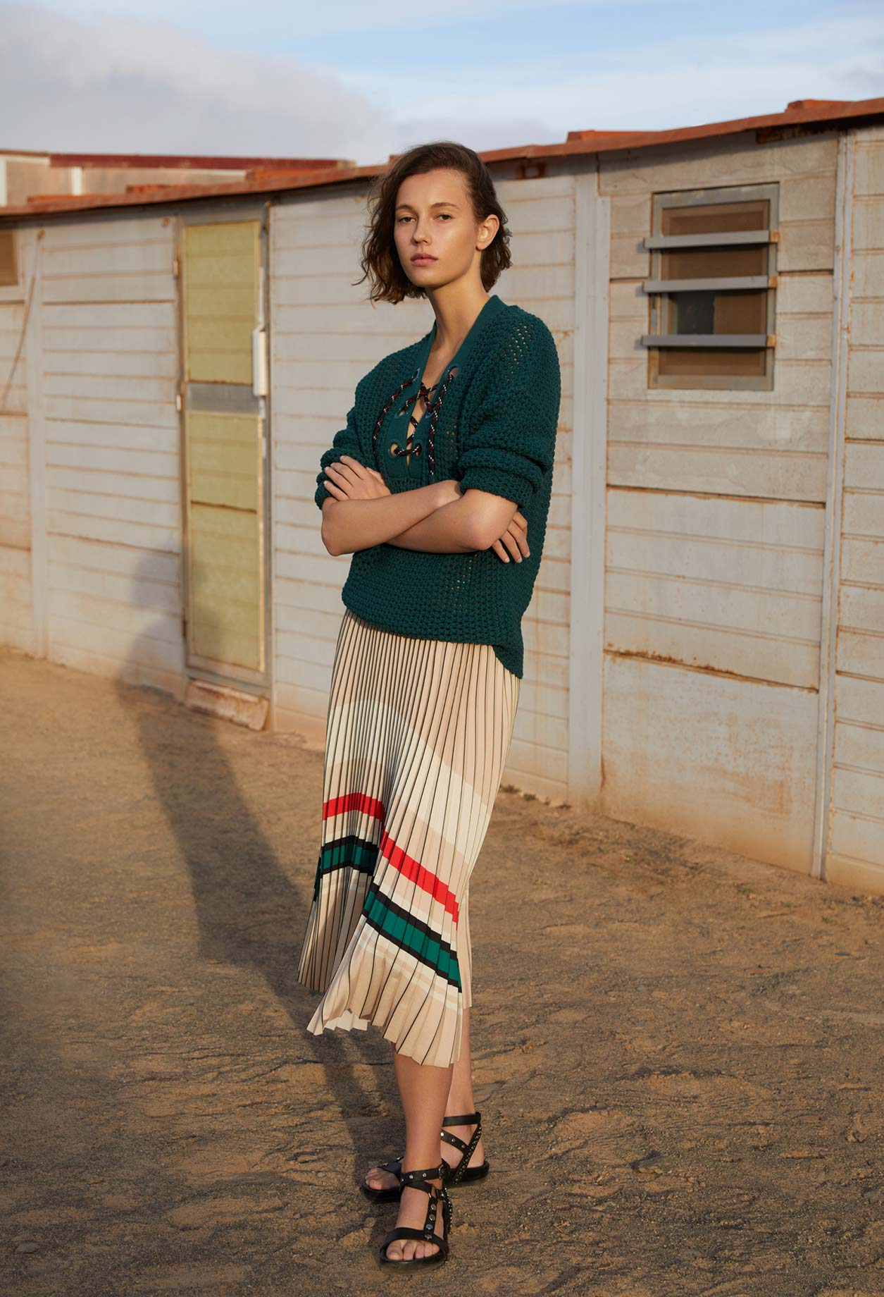 Colourful striped pleated skirt