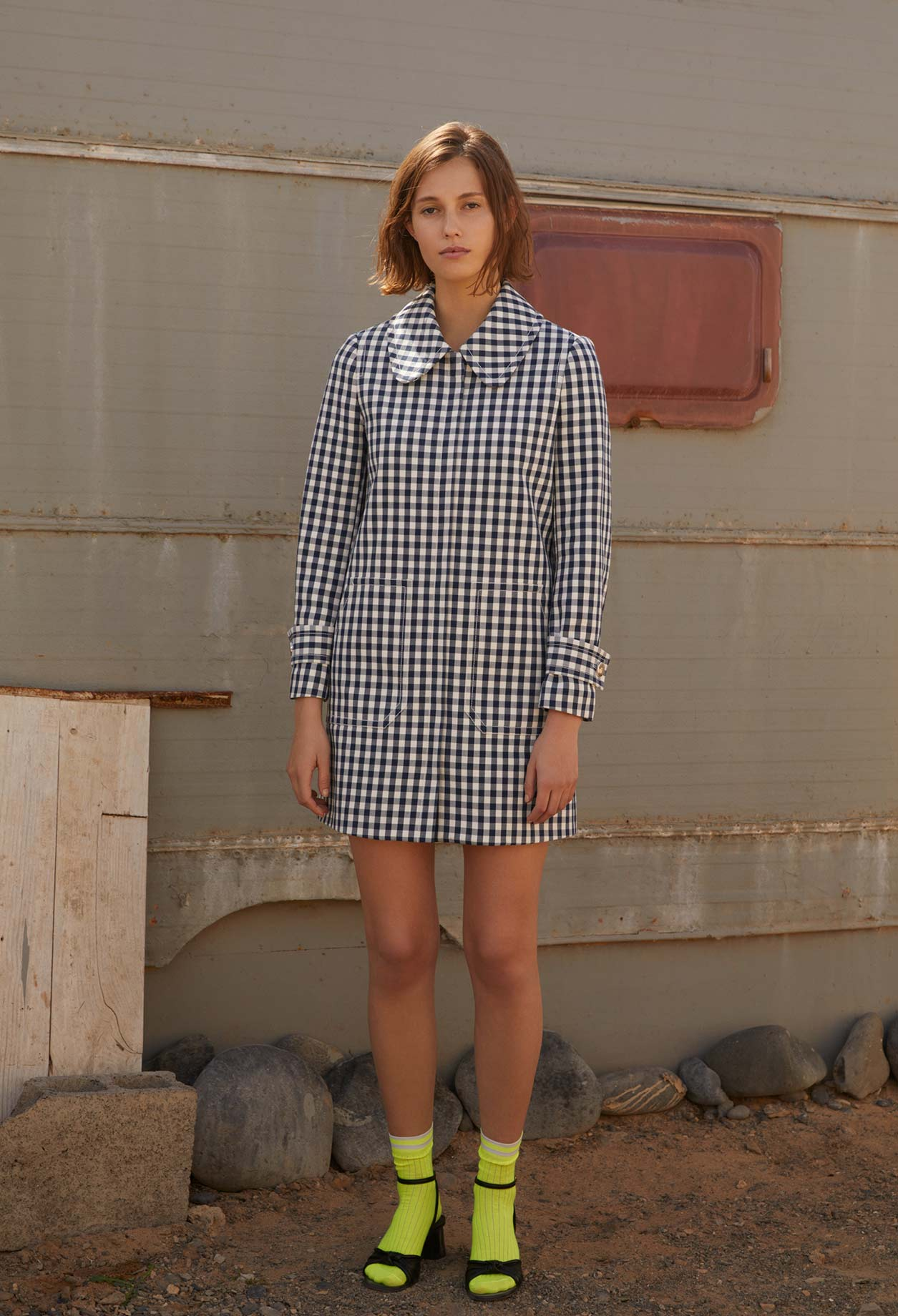 Structured gingham print coat