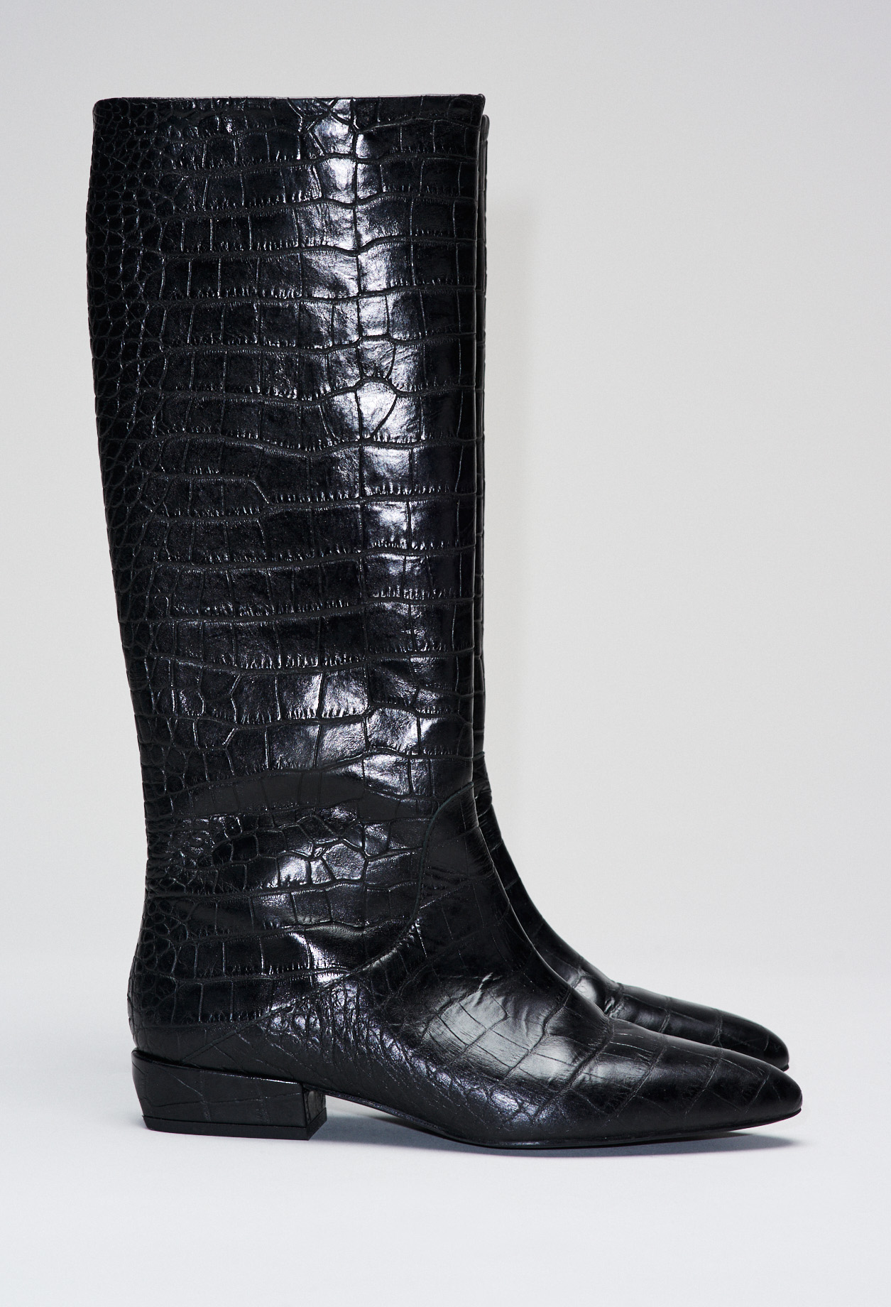 Croco patterned leather boots